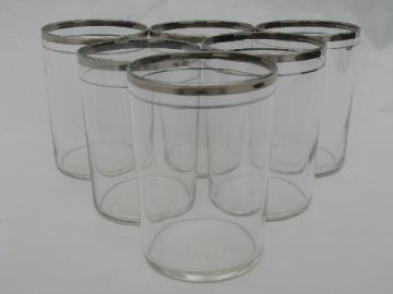 Mid-century vintage silver band flat tumblers, set of six glasses