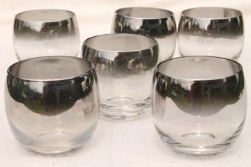 mid-century vintage silver fade glass roly-poly glasses, old fashioned lowball tumblers