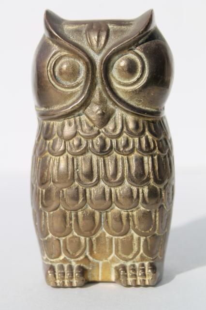 mid-century vintage solid brass owl paperweight animal figurine, 60s 70s retro