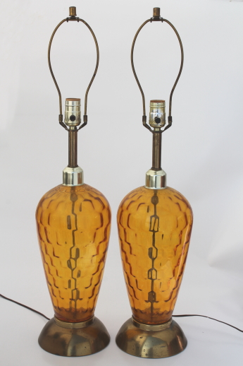 Mid Century Vintage Tall Glass Lamps, 60s Retro Amber Glass Table Lamp Pair