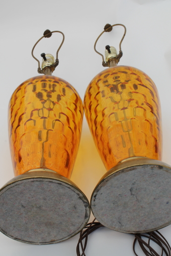 Mid Century Vintage Tall Glass Lamps 60s Retro Amber Glass Table