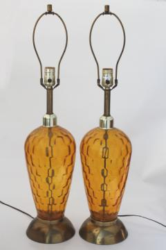 Mid-century vintage tall glass lamps, 60s retro amber glass table lamp pair