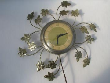 Mid-century vintage tole ivy shabby chic electric wall clock, retro starburst
