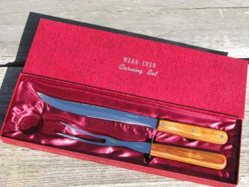 Mid-century vintage Wear-Ever carving knife and fork set, original box