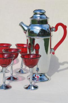 mid-mod vintage cocktail set, ruby red glass martini glasses, chrome & red lucite pitcher