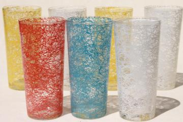 mid-mod vintage tall tumbler drinking glasses, spaghetti squiggle drizzle glass coolers