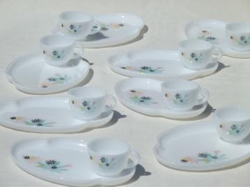 Milk glass snack sets, mod vintage Patio palm leaf print Federal glass