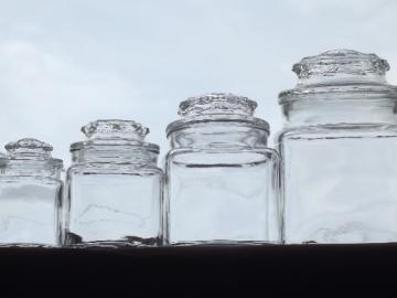 Mini glass jars canister set for tiny kitchenw/ small counter or shelves