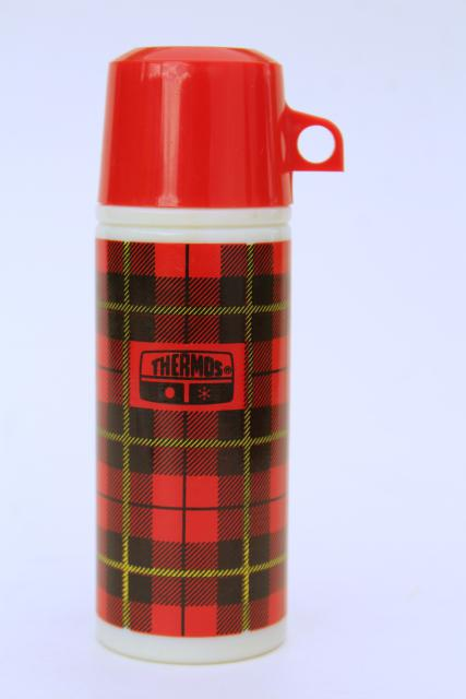 mini red tartan plaid Thermos Avon bottle, retro 1970s vintage