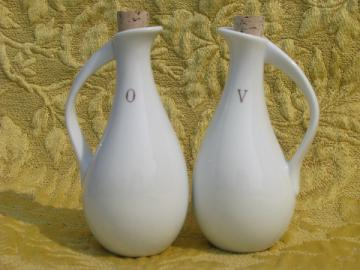 Minimalist mod white porcelain oil and vinegar cruets, 70s vintage Japan