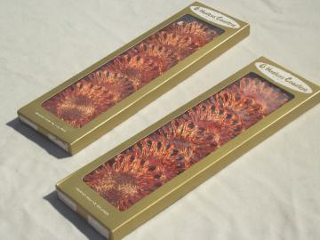 Mint in box retro orange daisy coasters set, abaca fiber straw flowers