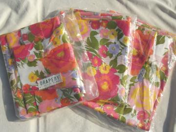 Mint in package vintage curtains, retro 60s flower print drapery panels