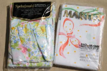 mint in package vintage pillowcases, retro 70s 80s flower print bedding