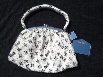 Mint w/ tags vintage purse, 50s  beaded handbag, little black bows on white