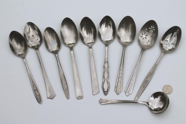 Mismatched Vintage Flatware Lot Of Serving Spoons