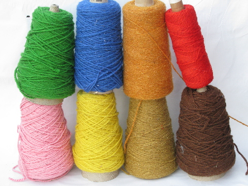 Mixed colors lot cone yarn, heavy wooly thread for weaving/crafts