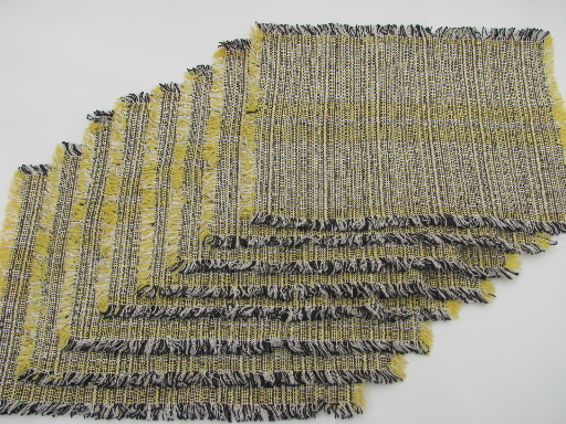 Mod 1950s vintage woven tweed placemats set, yellow / black / silver