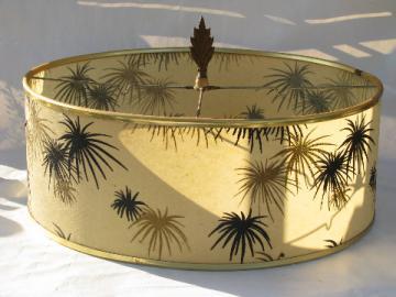 Mod 50s atomic starbursts fiberglass lampshade, mid-century modern vintage drum shade