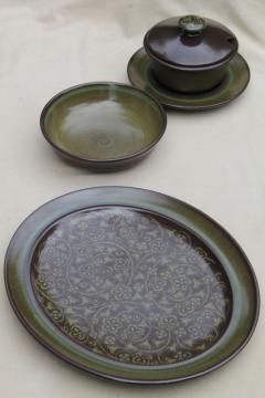 mod 60s 70s vintage Madeira Franciscan pottery, heavy retro brown & green dishes