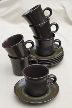 mod 60s 70s vintage Madeira Franciscan pottery, retro brown and green cups & saucers