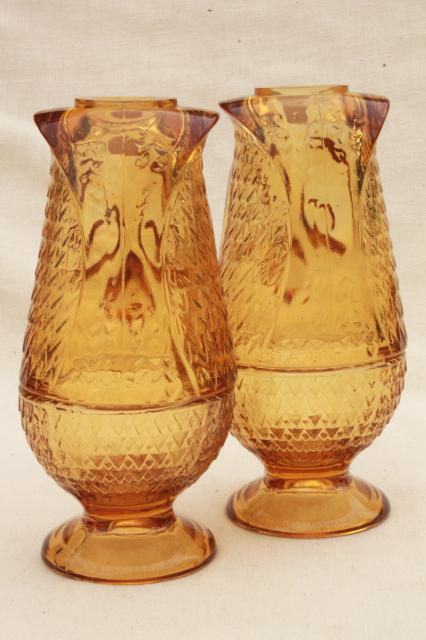 Mod 60s 70s Vintage Amber Glass Owls Viking Label Owl Fairy Light Candle Holder Lamp Pair