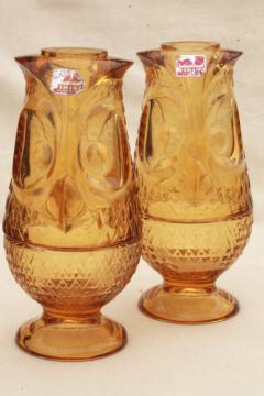 mod 60s 70s vintage amber glass owls, Viking label owl fairy light candle holder lamp pair