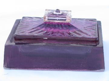 Mod 60s 70s vintage jewelry box, violet purple lucite plastic
