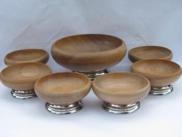 Mod 60s danish modern vintage wood / chrome salad set, large & small bowls