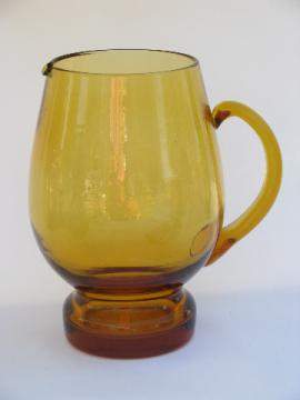 Mod 60s Italian glass barware, big amber pitcher, vintage bar glassware