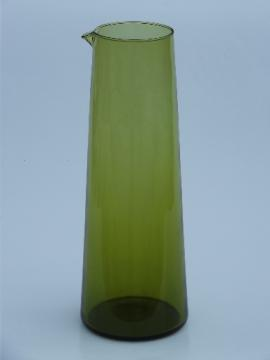Mod 60s lime green cocktail flask, vintage Italian glass bar pitcher