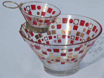 Mod 60s orange circles & squares glass chip n dip set, vintage retro