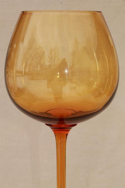 Mod 60s Vintage Amber Glass Vase Big Fishbowl Goblet Champagne Glass On Tall Skinny Stem