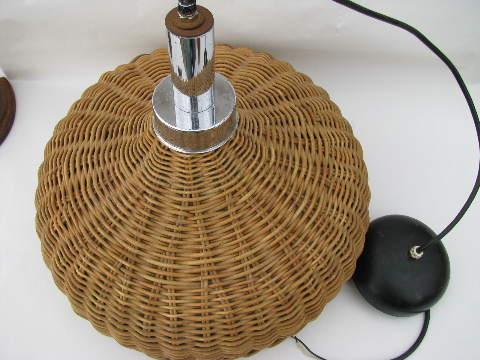 Mod 60u0027s Vintage Rattan / Chrome Hanging Light, Natural Wicker Lamp Shade