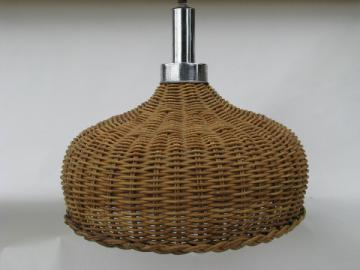 Mod 60's vintage rattan / chrome hanging light, natural wicker lamp shade