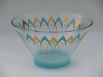 Mod aqua turquoise / gold glass punch or serving bowl
