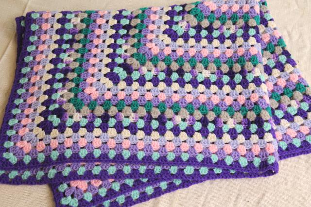 Mod Baby Blanket One Giant Granny Square Crochet Afghan In Lavender