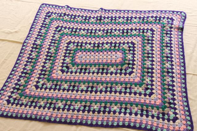 mod baby blanket, one giant granny square crochet afghan in lavender purple shades, 90s vintage