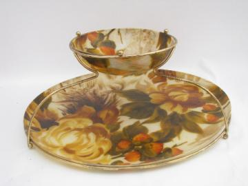 Mod big flowers print fiberglass chip & dip tray stand w/ bowl, 60s vintage