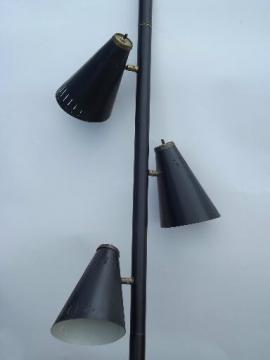Mod black cone shade metal tension pole floor lamp, mid-century vintage