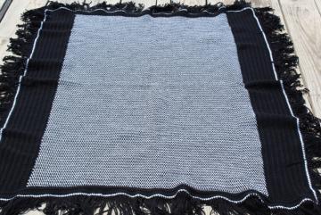 mod black & white tweed pattern crochet afghan, vintage fringed throw blanket
