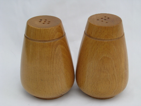 Mod Blond Wood Retro Salt And Pepper Shakers S Amp P