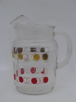 Mod dots vintage 1950s-60s kitchen glass juice or lemonade pitcher