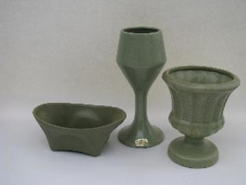 Mod Floraline McCoy, Haeger vintage pottery planters & vases, matte green