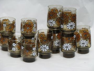 Mod flower power daisies smoke brown Libbey tawny accent glass tumblers