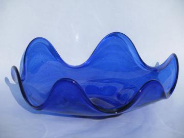 Mod free-form wave shape, retro 60s vintage art glass bowl, cobalt blue