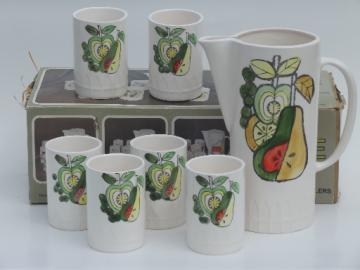 Mod fruit 70s vintage ceramic juice pitcher and glasses set MIB Japan