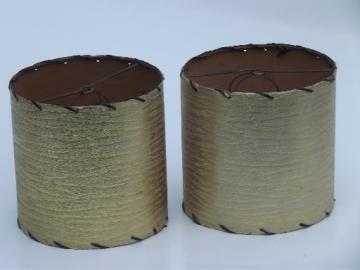 Mod gold laced edge lampshades, vintage clip on shades for retro lamps