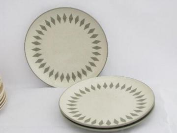 Mod grey diamonds border, retro vintage Harker stoneware pottery dinner plates
