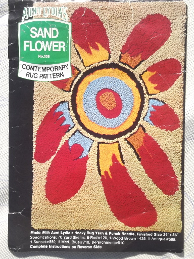 Mod hippie vintage rug canvas for hooked rug, Indian sand flower daisy
