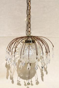 mod hollywood regency vintage wire birdcage swag lamp dripping with glass teardrop prisms
